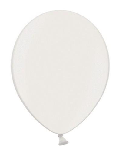 10 Partystar metallic Ballons weiß 27cm