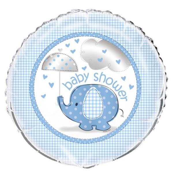 Ballon aluminium éléphant baby party bleu