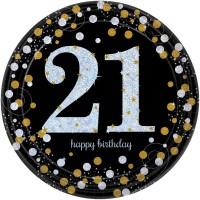 8 Golden 21st Birthday Pappteller 23cm