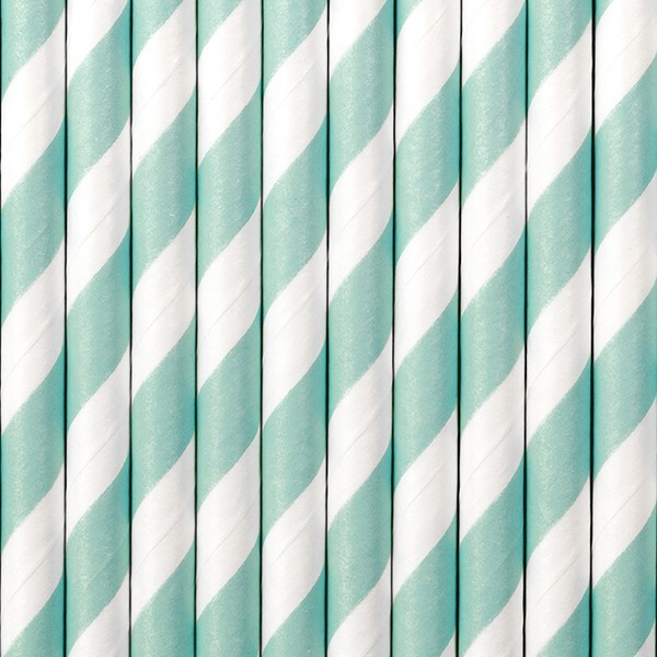 10 striped paper straws light blue 19.5cm