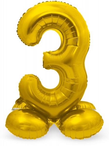Zahl 3 Ballon gold 72cm