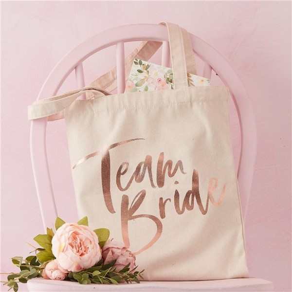 Bolso de tela Team Bride oro rosa