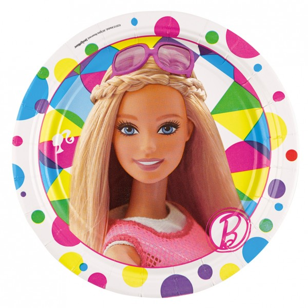 8 Barbie Fashionista Pappteller 17,7cm