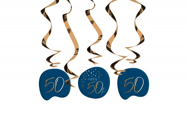 50th birthday hanging decoration 5 pieces Elegant blue