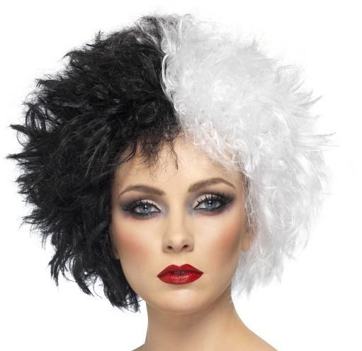 Damenperücke Cruella Schwarz Weiß