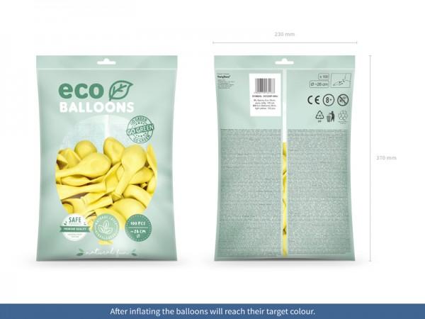100 eco pastel balloons lemon yellow 26cm