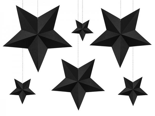 6 estrellas negras de decoración colgante DIY