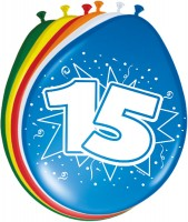 8 colorful latex balloons number 15