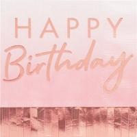 16 Roségoldene Birthday Fransenservietten 33cm