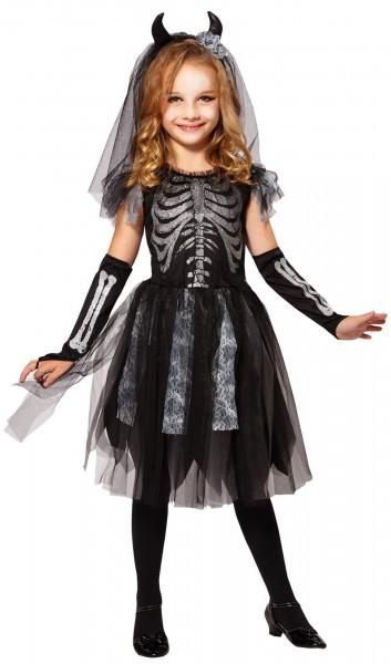 Kleines Totenbraut Skelett Mädchenkostüm