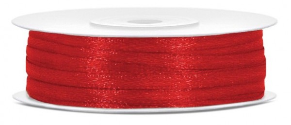 50m satin ribbon red 3mm wide