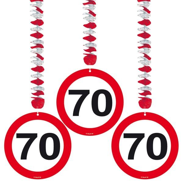 3 Verkehrsschild 70 Spiralhänger 75cm