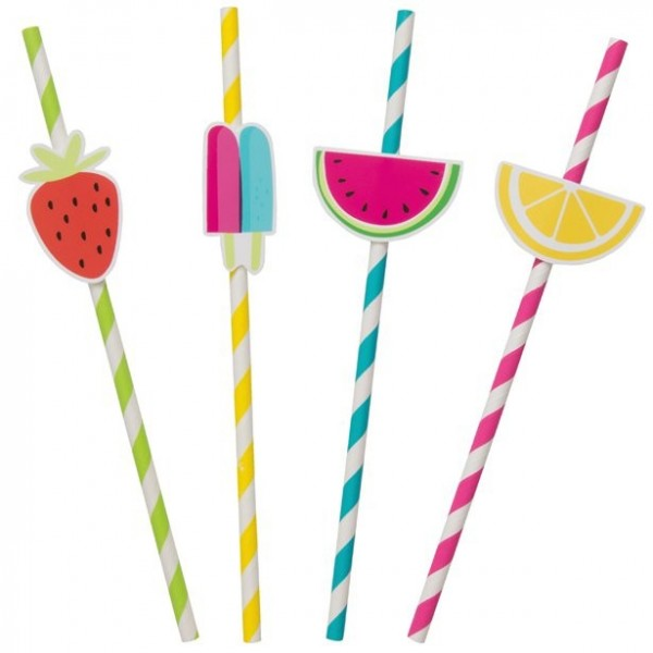 8 fruit cocktail paper straws 21cm