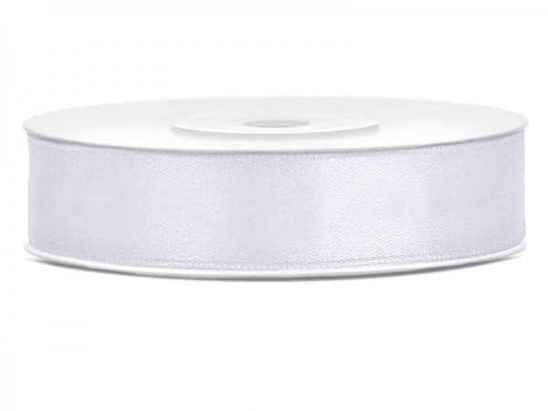 25m satin gift ribbon white 1.2cm