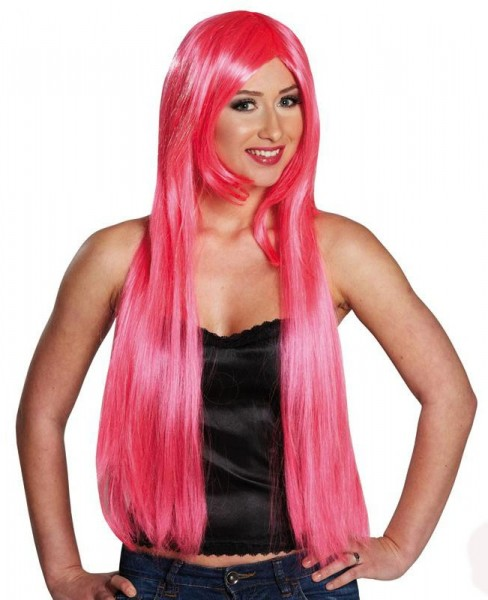 Perücke Lang Glatt Pink Rosa Cosplay Punk