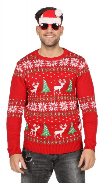 Christmas sweater reindeer red for men