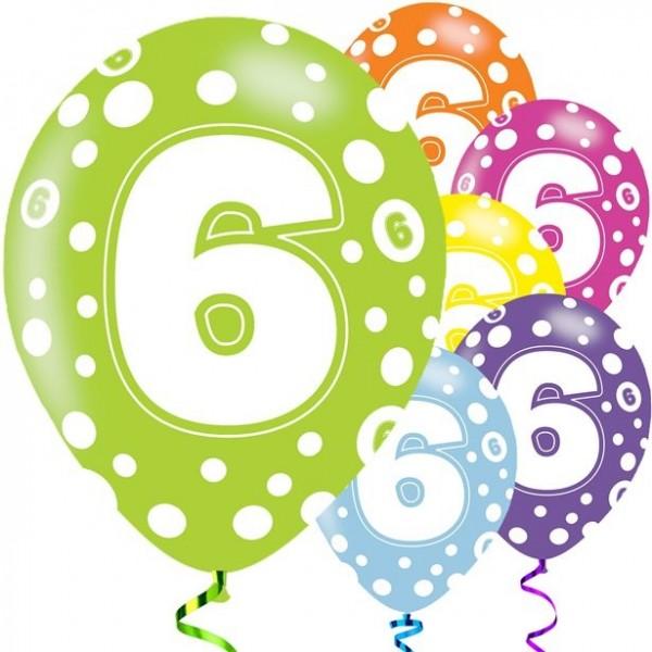 6 Fancy 6th Birthday Luftballons 28cm