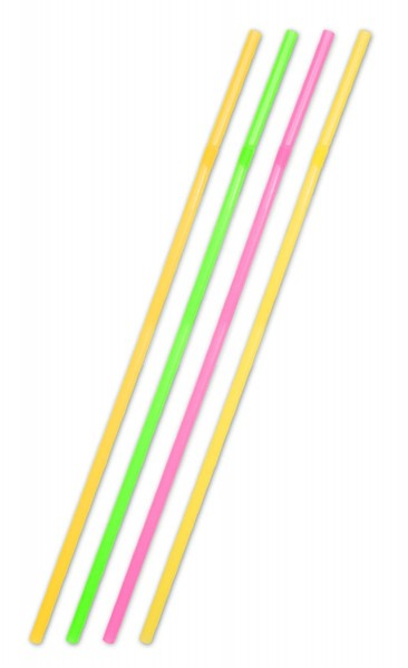 25 jumbo straws neon colored 44cm