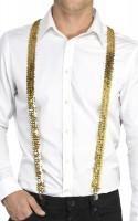 Goldene Disco Pailletten Hosenträger