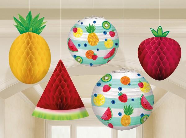 Tutti frutti hanging decoration 5 pieces