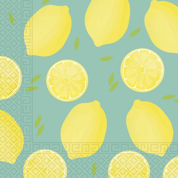 20 Fresh Lemon Napkins 33cm