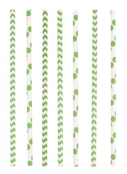 24 Summerfeeling Papier Strohhalme grün 19,5cm