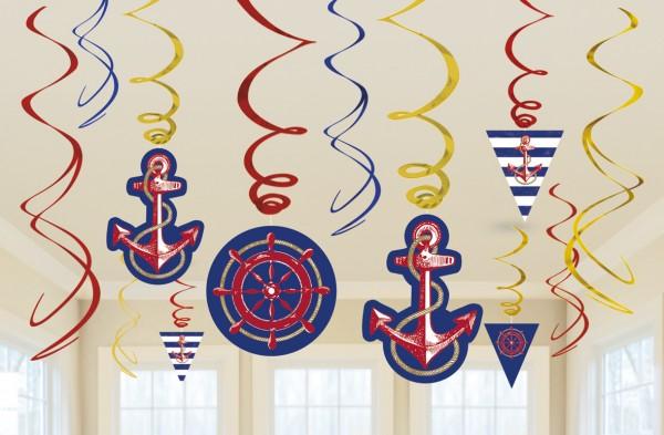 12 Maritime Sommer Spiralhänger 60cm