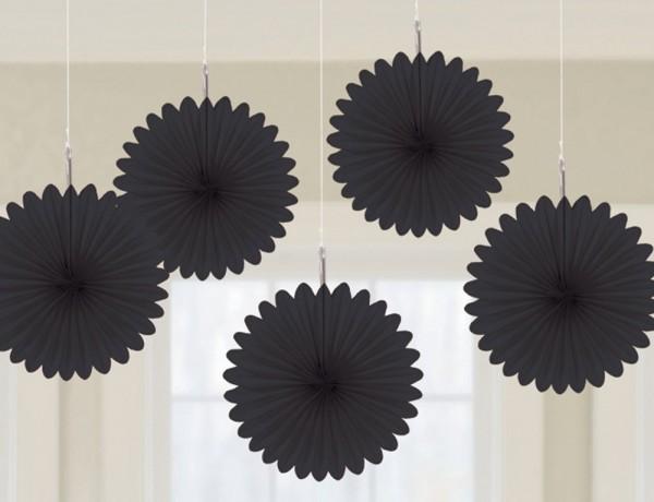 5 rosette decorative nere 15cm
