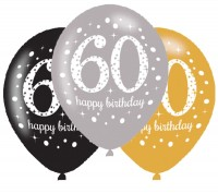 6 Golden 60th Birthday Ballons 27,5cm