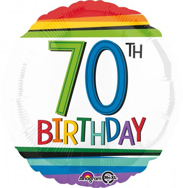 Rainbow 70th-Birthday Folienballon 43cm