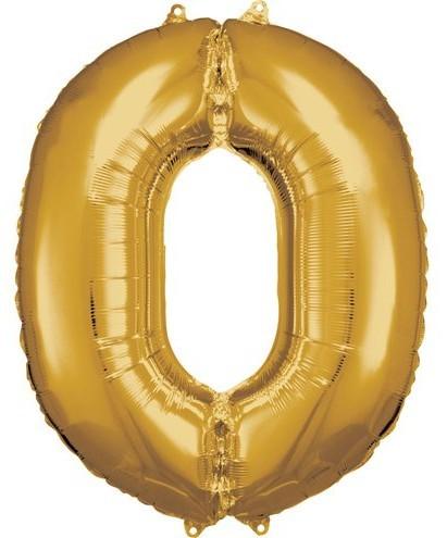 Ballon aluminium numéro 0 doré 86cm