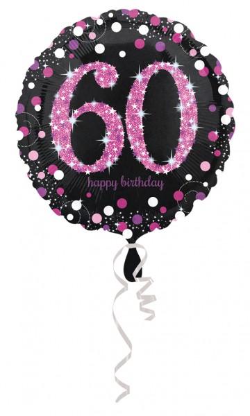 Ballon en aluminium rose 60e anniversaire 43cm
