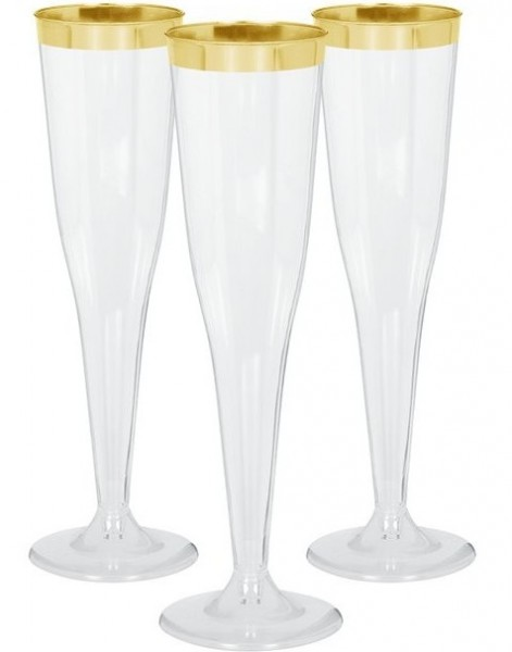 6 flûtes à champagne avec bord doré 142ml