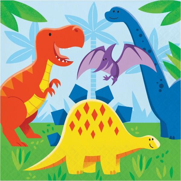 16 Dino Kinder Servietten 33cm