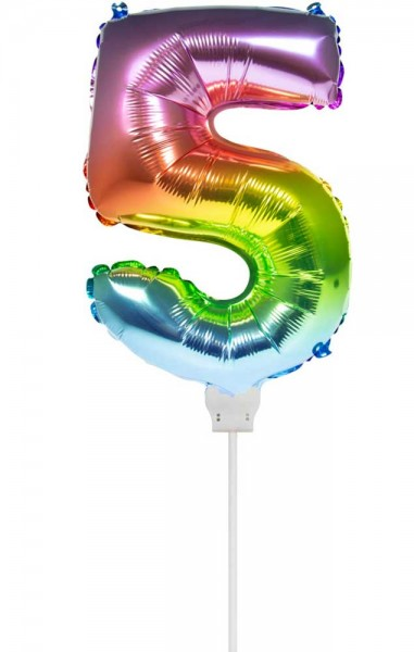 Regenbogen Zahl 5 Stabballon 36cm