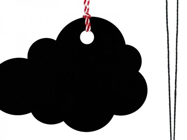6 étiquettes cadeaux nuages noires