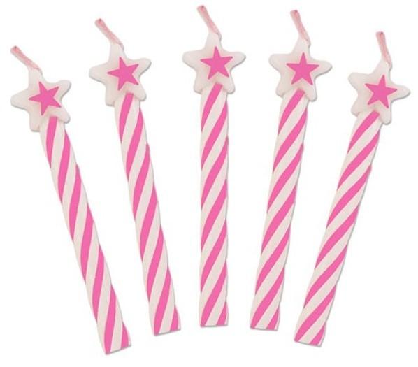 8 Pink Sternchen Tortenkerzen