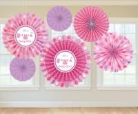 6 Baby Party Papier Fächer Deckenhänger