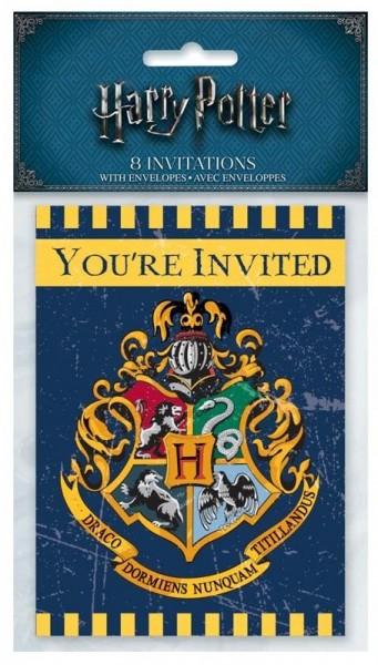 8 cartes d'invitation Harry Potter Poudlard