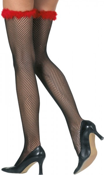Long fishnet stockings with a red feather waistband
