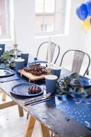 Tortendeko Zahlen 15cm Elegant blue