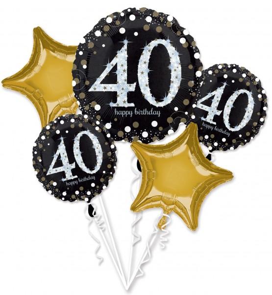 Bouquet de ballons dorés 40e anniversaire