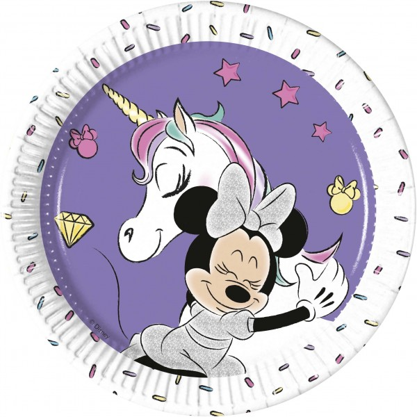 8 Minnie Mouse Einhorn Teller 20cm