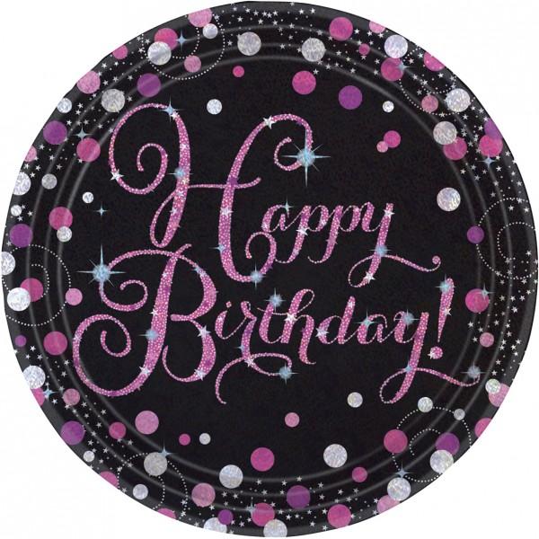 8 assiettes en papier rose Happy Birthday 23cm
