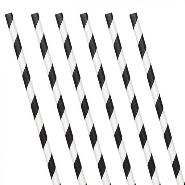 24 papierowe słomki do picia czarno-białe