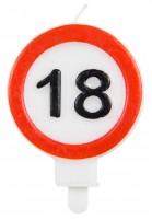 Verkehrsschild 18 Tortenkerze 6cm