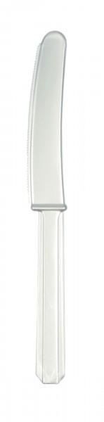 20 plastikowych noży w kolorze srebrnym