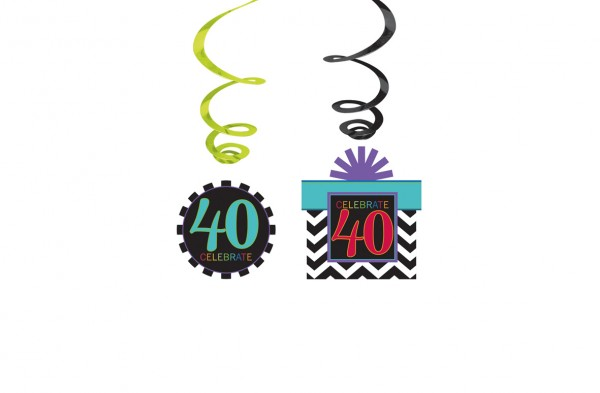 40th birthday celebration swirl hanging decoration
