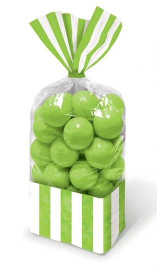 10 torebek na cukierki w paski jasnozielone