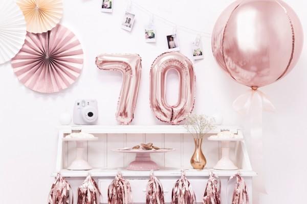 Metaliczny balon z cyframi 7 różowe złoto 35cm